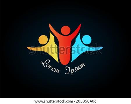 human symbol - logo, icon - stock photo