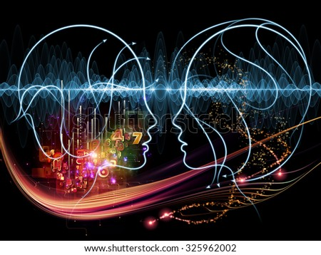 Human Tangents series. Artistic background made of human lines and graphic elements for use with projects on Math, Nature, Universe and human existence - stock photo