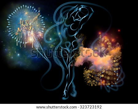 Human Tangents series. Design composed of human lines and graphic elements as a metaphor on the subject of Math, Nature, Universe and human existence - stock photo