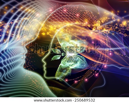 Human Vector series. Arrangement of human lines and abstract graphic elements on the subject of mind, human spirit, poetry, inspiration and philosophy - stock photo
