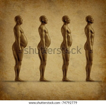 Human weight loss chart symbol represented by an obese human gradualy losing fat resulting in a healthy fit man on a grunge parchment paper texture. - stock photo