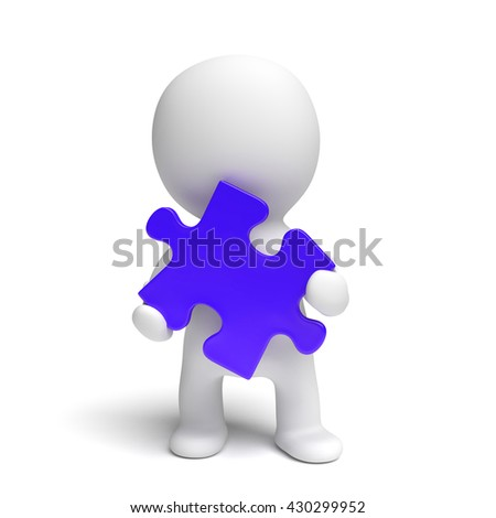 human white 3d person holding a blue puzzle piece (3d illustration isolated on a white background