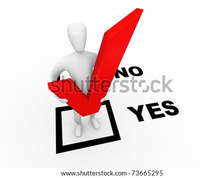 Human with check mark standing in the yes option