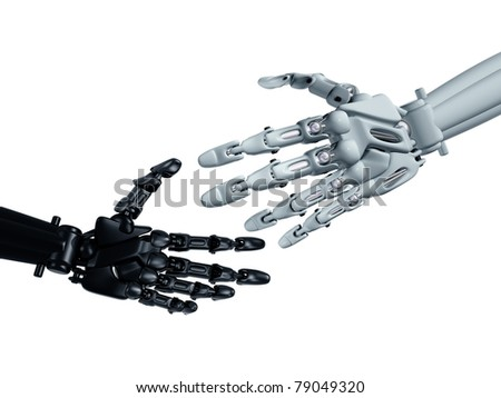 Humanoid robots reaching out to shake hands - stock photo