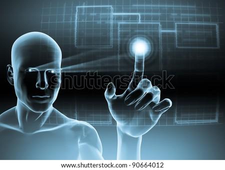Humanoid touching a blue virtual screen - stock photo