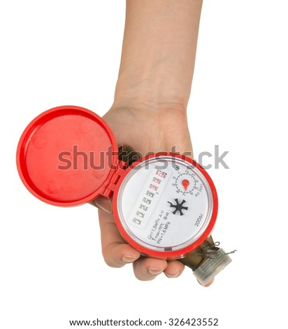 Humans hand holding water meter on isolated white background