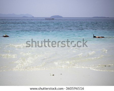 humans snorkeling in a turquoise tropical sea by a white sandy beach under Sunny Clear Blue Sky, Tropical beach scenery, Andaman sea, View of Than island, Myanmar - soft focus - stock photo