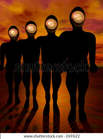 Humans with Clock as face... - stock photo