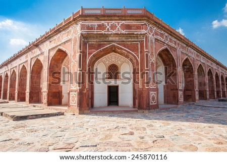 Humayun's Tomb, fine example of the Great Mughal architecture, UNESCO World Heritage site, Delhi, India. - stock photo