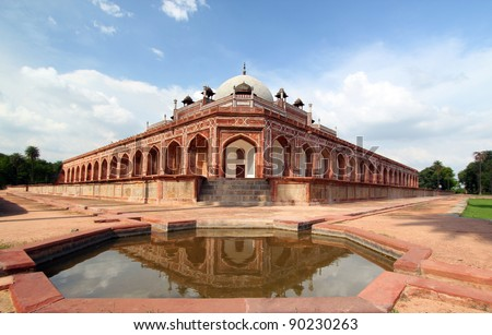 Humayun's Tomb New Delhi tourist destinatio. This tomb, built in 1570, is of particular cultural significance as it was the first garden-tomb on the Indian subcontinent. - stock photo