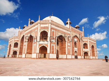 Humayun's Tomb - one of the most famous Mughal buldings in New Delhi, India. - stock photo