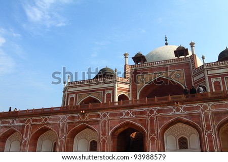 Humayun Tomb in New Delhi during the sunny day, India. - stock photo