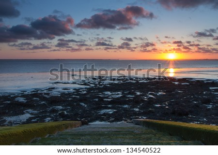Humber Estuary sunset near Paul - stock photo
