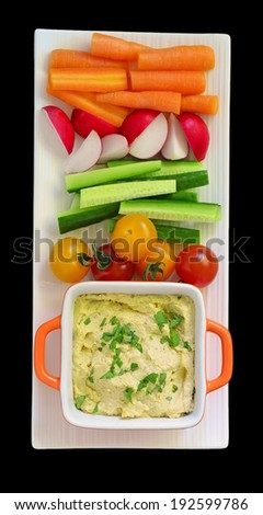 Hummus and raw vegetables for a healthy snack - stock photo