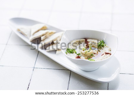 hummus houmous middle eastern vegetarian veggie healthy snack food - stock photo