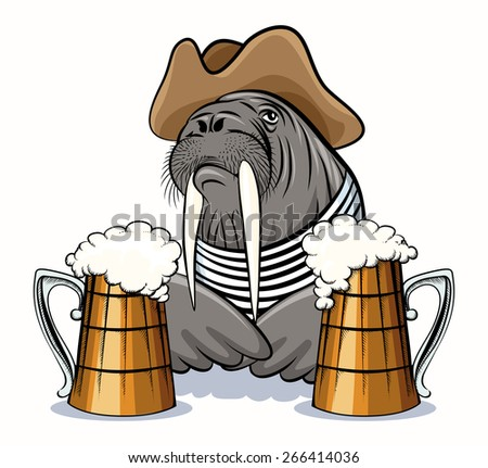 Humorous illustration of walrus with mugs full of beer. Isolated on white background.