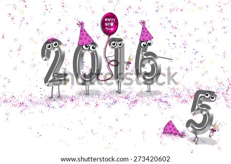 humorous 2016 new year party with balloons, confetti and party hats on white - stock photo