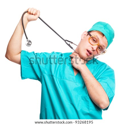 humorous portrait of a young depressed suicidal surgeon with a stethoscope on his neck, isolated against white background - stock photo