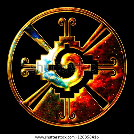 Hunab Ku - galactic butterfly - mayan symbol heart of galaxy - stock photo