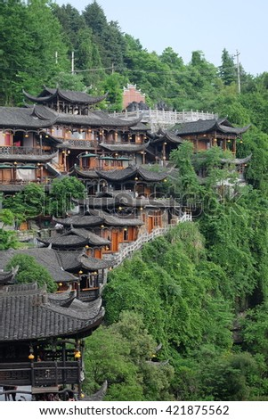 HUNAN, CHINA - APRIL 2016: Ancient domestic houses in Furong town, also know Wangcun town. This is the place where the movie 'Furong Town' was shot.