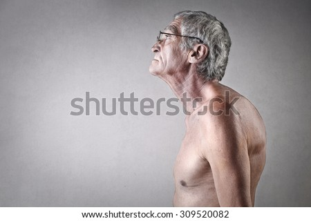 Hunchbacked elderly man