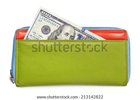 hundred american dollar in colorful leather wallet - stock photo
