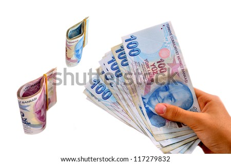 hundred and two hundred Turkish Lira white background