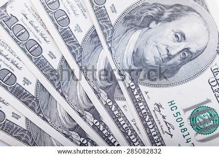Hundred cash dollars banknote closeup, money background. Business concept. Selective focus, blurred background