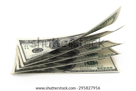 Hundred dollar banknotes closeup (isolated and clipping path) - stock photo