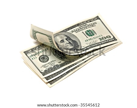 Hundred dollar banknotes isolated on green background - stock photo