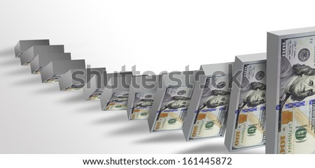hundred dollar bill falling on each other, like dominoes - stock photo