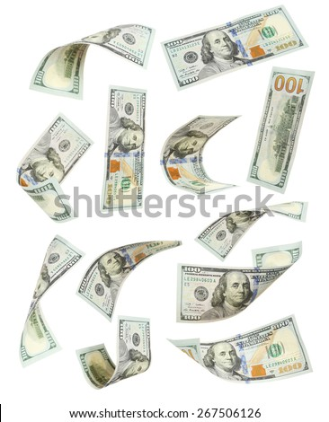 Hundred dollar bill falling on white background