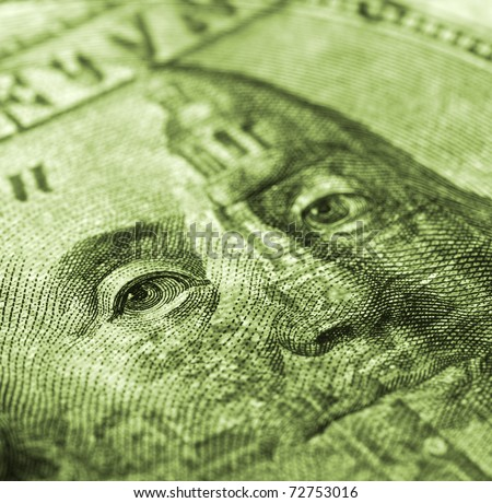 Hundred dollar bill macro shot - money detail background - stock photo