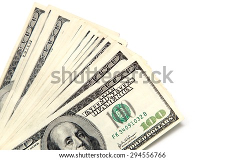 hundred dollar bill on a white background