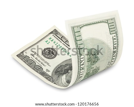 Hundred dollar bill on white, soft drop shadow - stock photo