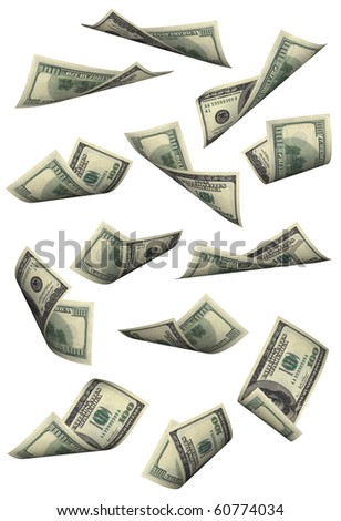 Hundred dollar bills falling on white background - stock photo