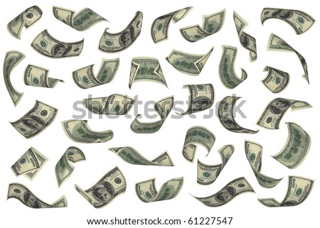 Hundred dollar bills falling on white background. No overlap, easy to crop individual pieces and use as you like. - stock photo
