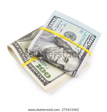Hundred Dollar bills folded and tied with rubber band isolated - stock photo