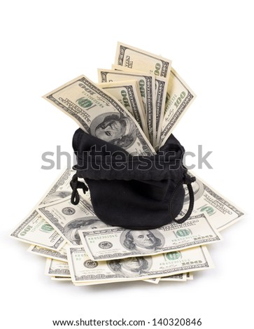 hundred-dollar bills in a bag isolated on a white background - stock photo