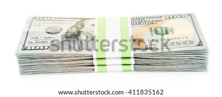 Hundred dollar bills, isolated on white  - stock photo