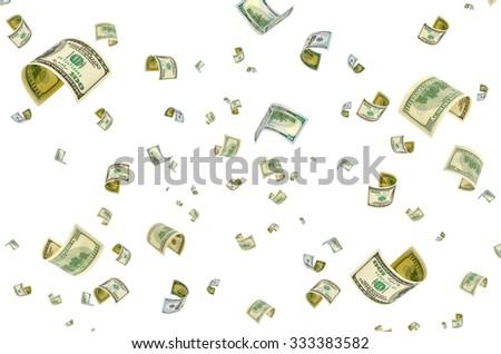 Hundred-dollar bills on a white background. - stock photo