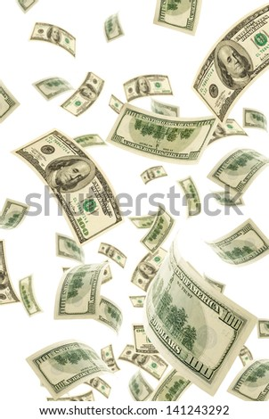 Hundred-dollar bills on a white background, vertical. - stock photo
