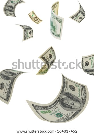 Hundred-dollar bills on a white background, vertical.
