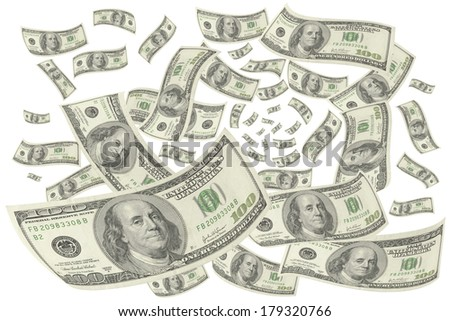 Hundred-dollar bills on white background.