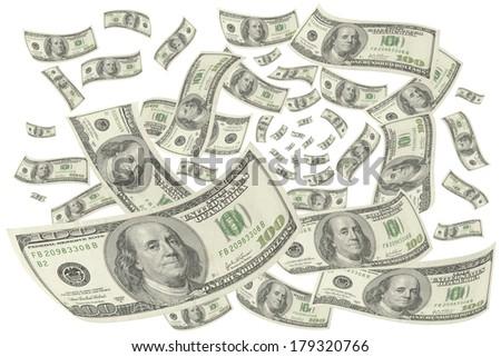 Hundred-dollar bills on white background. - stock photo