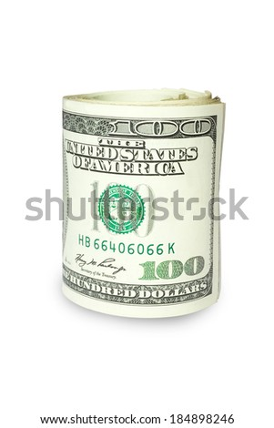 Hundred dollar bills rolled - stock photo