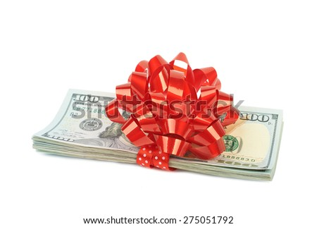 Hundred-dollar bills tied with red ribbon as a gift isolated on white background - stock photo
