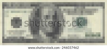 Hundred dollars. Abstraction. Pixel Art. - stock photo