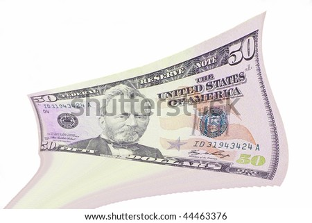 Hundred dollars bank notes on a white background