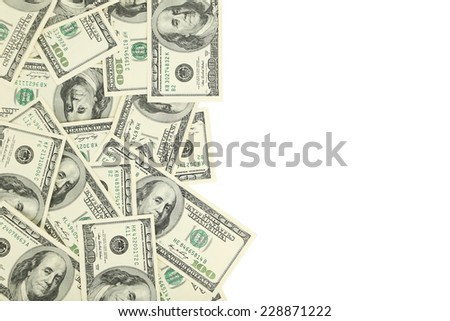 Hundred dollars bill on white background